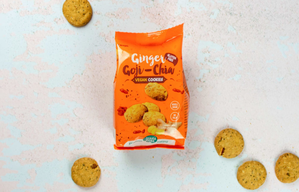 vegan cookies, glutenvrije koekjes gember goji chia