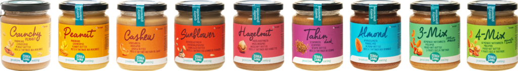 biologische, huisgemaakte notenpasta en pindakaas van 100 procent noten, zaden of pinda's